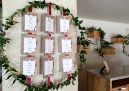 Décoration du plan de table pour les invités d'un mariage au Château de la Rairie